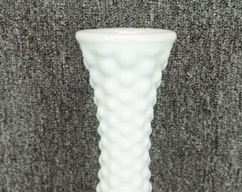 """Vintage Milk Glass Hobnail 12"""" Vase"""