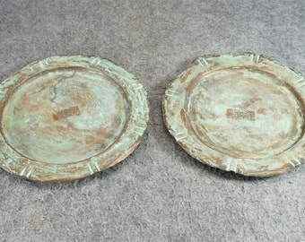 Copper Antiqued Plates With Patina And Rough Edge Set Of 2