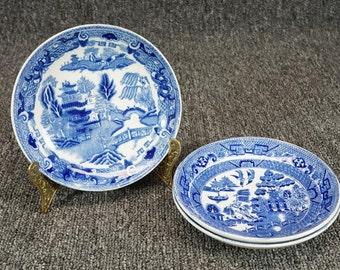 "W. Ridgway Blue Wilow Pattern 5 1/2"" Fruit Bowl X 3 C. 1910'S"