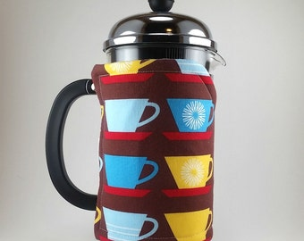 Retro Coffee Theme, French Press Cozy, 8 cup, Cafetiere Cosy, Brown, Blue, Free Shipping to US, Insulated, MB0101
