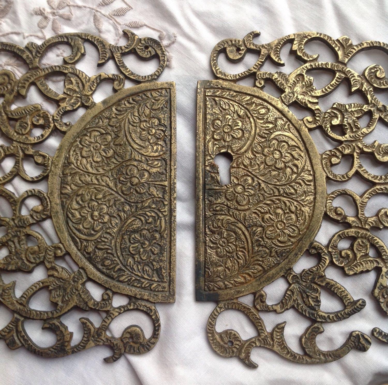 P L A Q U E Reclaimed Hardware Shabby Chic Brass Vintage Decorative Furniture Door Plaque Plate