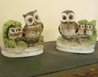 Homco Bisque Owl Family Figurines #1298 / Mom and Pop Owl with Baby Owls Statues