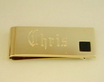 Gold Tone Name Etched CHRIS Money Clip Holder