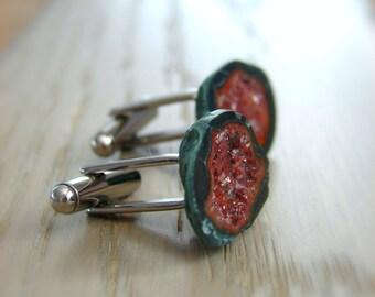 Raw Geode Cufflinks, Mens Jewelry, Rough Stone Cuff Links, Grooms Cufflinks, Wedding Gift for Men, Birthday & Anniversary Gift for Him