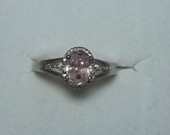 Solid Sterling Oval Pink Ice CZ Ring  6 1/2