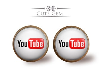 SUPER SALE - YouTube - Antique Bronze Glass Stud Earrings