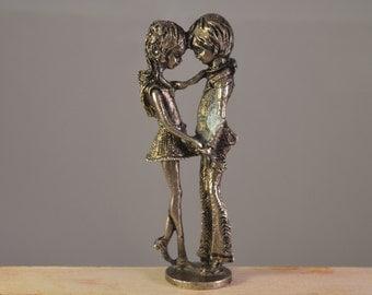 Vintage miniature metal, couple ,in love,figure