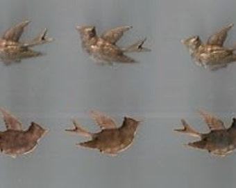 Viintage-French-5 copper cut outs-Flying Bird-Arts and Crafts Items Material