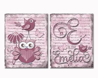 Custom baby name wall art, baby girl room decor, children wall art, kids room art, music paper art, red nursery owl, victorian nursery decor