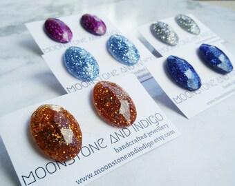 Stud Earrings - Resin Faceted Stud Earring - Oval Faceted Glitter Resin Studs- Silver Stud Earrings- Glitter Earring- Personalised Earring