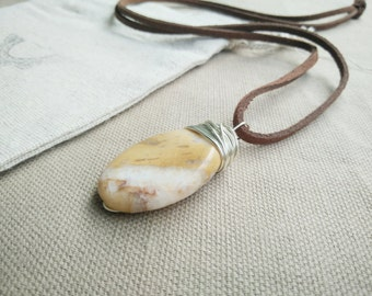 Gemstone Mens Necklace- Mens Agate Necklace- Gemstone Necklace- Mens Jewelry- Gemstone Jewelry- Boho Necklace- Brown Suade Mens Necklace