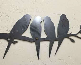 Birds on a Branch Steel Wall Decor