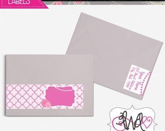 EDITABLE INSTANT DOWNLOAD: Pink and White Wrap-Around Address Labels, Bridal Shower, Baby Shower