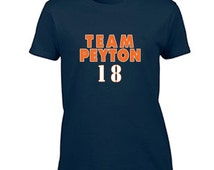 Peyton Manning T-Shirt TEAM PEYTON Women's T Shirt Ladies Graphic Tee Denver Broncos
