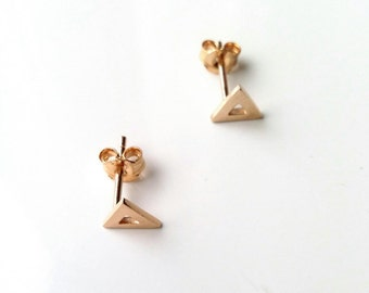 Earrings triangles, gold-plated 750/000 - chips triangles golden - triangle earrings, yellow gold 750 plaqted