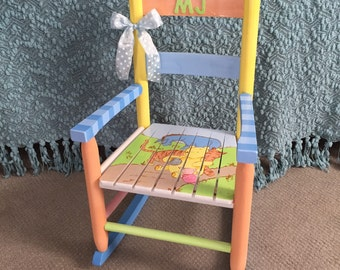 classic winnie the pooh themed rocking chair handpainted kids rocker nursery decor