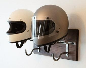 Double Handmade Helmet Rack & Jacket Hook
