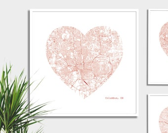Columbus Ohio City Heart Map -  Art Print