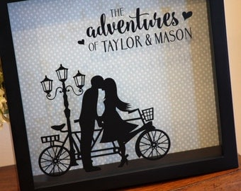 Ticket Shadow Box, Wedding Card Holder, Adventures, Wine Cork Holder, Couple on Tandem, Bicycle, Bike