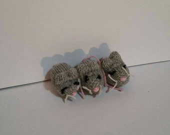 3 Blind Mice - tiny knitted plushie set