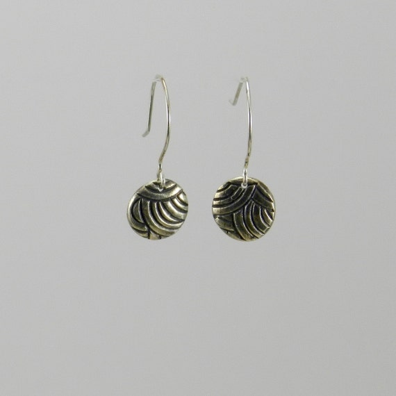 Concentric Circle Earrings: Earrings Fine Silver Precious Metal Clay Concentric Circles