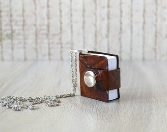 Mini leather book necklace Leather notebook charm Tiny notebook pendant Brown leather journal Wearable book Small leather book with chain