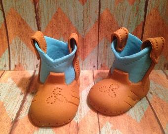 Blue/Brown Fondant Cowboy Boots