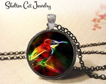 """Hummingbird in Fractals Necklace - 1-1/4"""" Circle Pendant or Key Ring - Handmade Wearable Photo Art Jewelry - Nature Art Wildlife Animal Gift"""