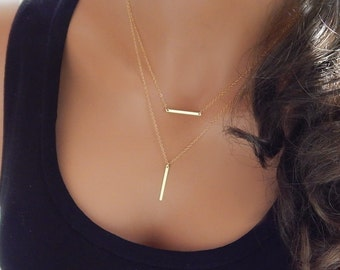 Layered Necklace • Gold Bar Layering Necklace • Double Chain • Gift for Girlfriend • Her • Sister • Mom • Gold Silver Bar