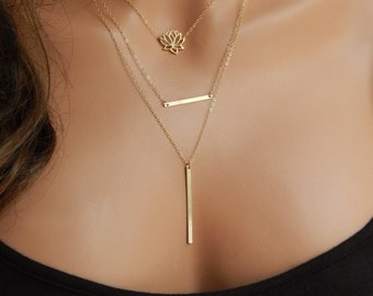Layered Gold Bar Pendant and Lotus Necklace, Lotus Flower, Girlfriend Gift, Gold, Rose Gold or Silver, Minimal Necklace