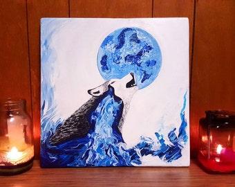 14x14 Original Wolf Painting, Wolf Art, Wolf Painting, Original Art, Acrylic Painting