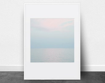 Seascape Photography, Printable Art, Ocean, Sea, Blues and Pinks, Pink Clouds, Calm Water, Printable Wall Art, Pale Colors