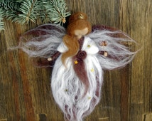 Waldorf inspired fairy doll Needle Felted Wool angel Christmas ornament Woolen fairy guardian angel Magical home decoration Princess