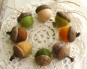 Acorn ornaments Felted wool acorns Natural colored Set of 8 Rustic decorations Christmas home decoration