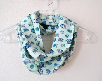 Mint Cotton Infinity Scarf with Different Owl Print, Cotton Scarf, Summer Fashion, Women Accessories, Spring, Summer, Fall
