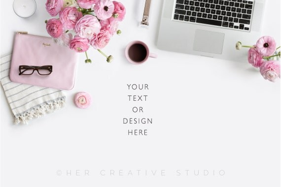 styled stock photography laptop with pink and neutral