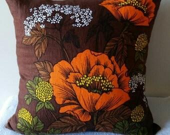 Vintage 70's design cushion cover, flax linen, upcycled tea towel, Australian handmade