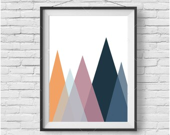 Colorful Art, Scandinavian Print, Mountain Art, Geometric Print, Triangles, Pink Navy Orange, Bright Colors, Home Decor, Abstract Poster