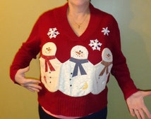 Homemade Ugly Christmas Sweater with Snowmen