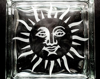 Sand etched Glass Block Sun