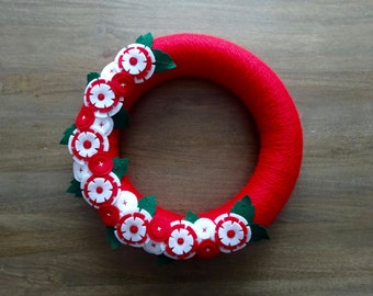 Christmas Felt Wreath, Felt Flower Wreath, Christmas Wreath, Red and White Flower Wreath