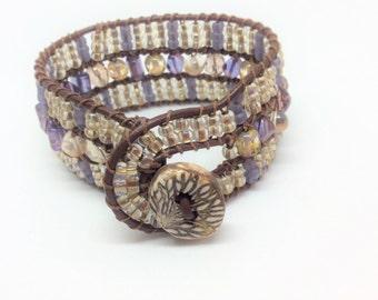 Beaded Leather Cuff Bracelet, Purple and Cream Beads, Vintage Beaded Bracelet, Leather Wrap Bracelet, Ceramic Button Loop, Artisan Jewelry