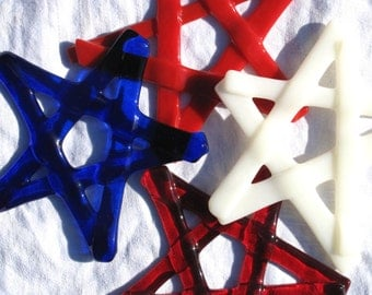 Christmas star decoration, set of 3.  Fused glass christmas ornaments , funky and modern stars.  Handmade