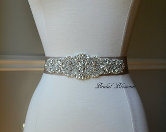 BEST SELLER - ROSALEE Taupe Bridal Sash   Rhinestone Pearl Wedding Dress Sash   Belt   Beaded Applique Sashes   Ribbon Sash Bridesmaids Tan