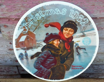 Vintage Knowles Limited Edition Collectors Plate, Norman Rockwell. Courtship at Christmas Dated 1982,Christmas decor,Wall Decor,China Plate