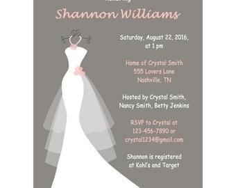 Bridal Shower Invite - Printable Invites - Wedding Shower Invites - Wedding Invitations DIY - Wedding Shower Invitation - Printable Gray 185