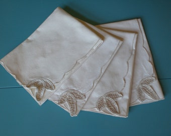 4 Linen Table Napkins with Open Cut Work Embroidery, in excellent like new condition, 16 inch size, Linen Colored Cloth Napkins