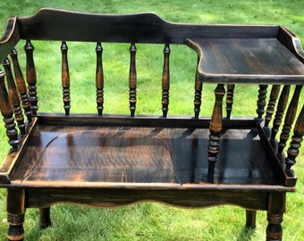 SOLD - Vintage Telephone Bench, Vintage Gossip Bench, Antique Gossip Bench, Antique Telephone Bench, Black, Distressed, Maple
