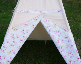 SALE! Shabby rose canvas kids Teepee tent with a side window/Limited Edition from TucsonTeepee
