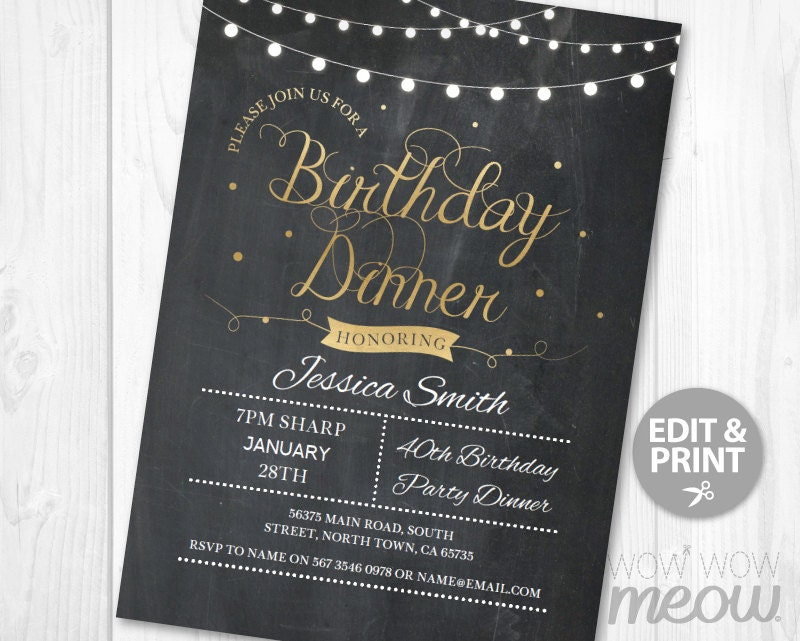 birthday dinner party invite instant download any age 30th. Black Bedroom Furniture Sets. Home Design Ideas